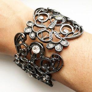 Chunky silver intricate openwork diamond bracelet